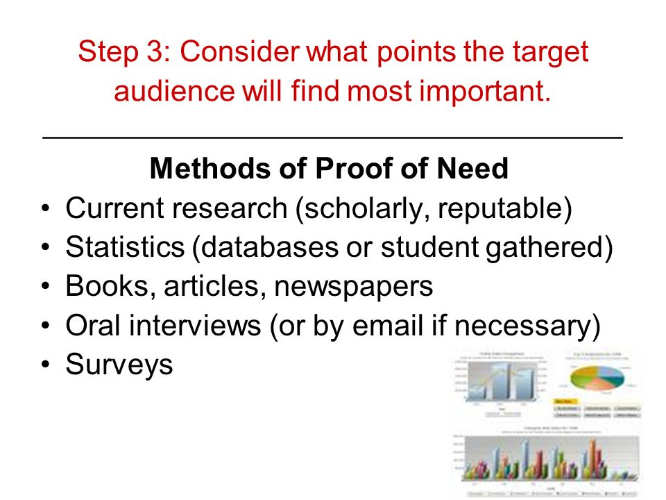 Step 3: Consider what points the target audience will find most important. ________________________________________ Methods of Proof of Need Current r