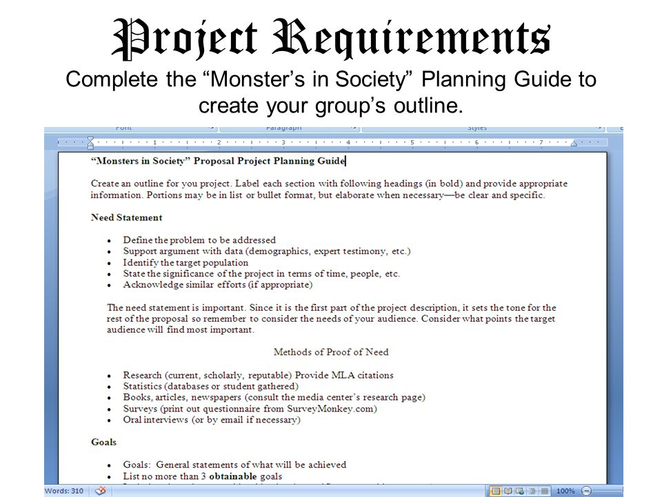 Project Requirements Complete the Monsters in Society Planning Guide to create your groups outline.