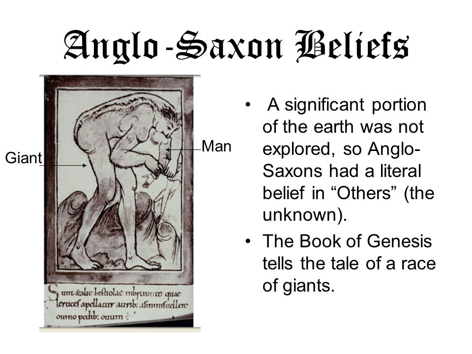 Anglo-Saxon Beliefs A significant portion of the earth was not explored, so Anglo- Saxons had a literal belief in Others (the unknown). The Book of Ge