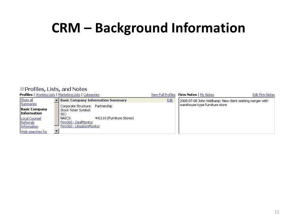 11 CRM – Background Information