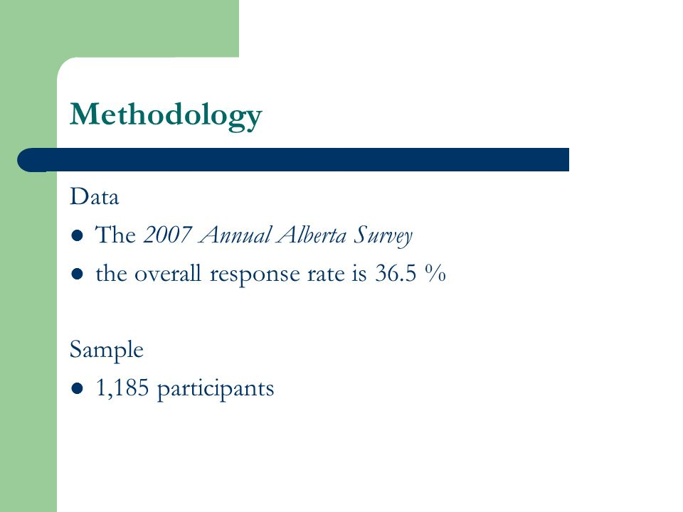 Methodology Data The 2007 Annual Alberta Survey the overall response rate is 36.5 % Sample 1,185 participants