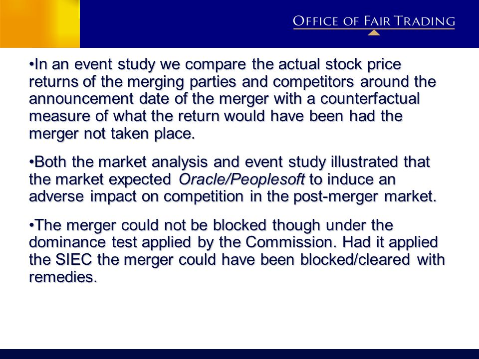 In an event study we compare the actual stock price returns of the merging parties and competitors around the announcement date of the merger with a c