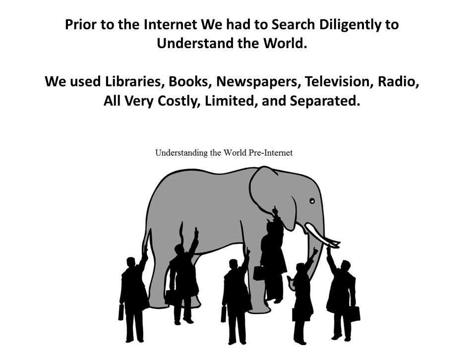 Prior to the Internet We had to Search Diligently to Understand the World. We used Libraries, Books, Newspapers, Television, Radio, All Very Costly, L