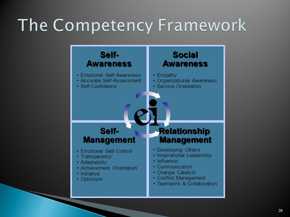 20 Self-AwarenessSocialAwareness Relationship Management Self-Management Emotional Self-Awareness Accurate Self-Assessment Self-Confidence Empathy Org