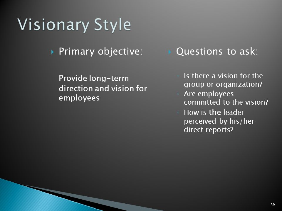 Primary objective: Provide long-term direction and vision for employees Questions to ask: Is there a vision for the group or organization? Are employe