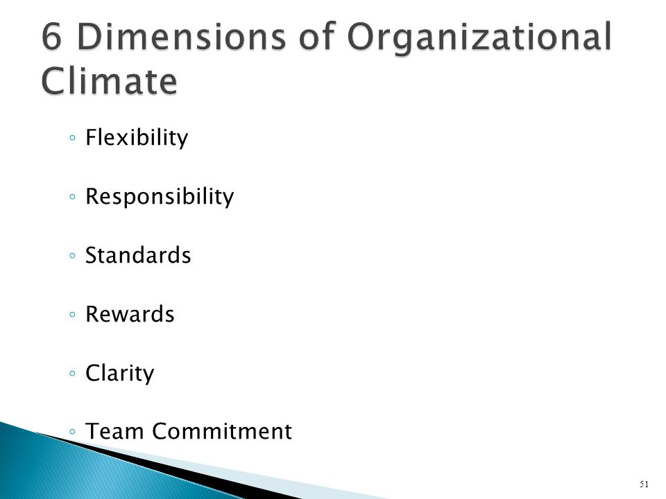 Flexibility Responsibility Standards Rewards Clarity Team Commitment 51
