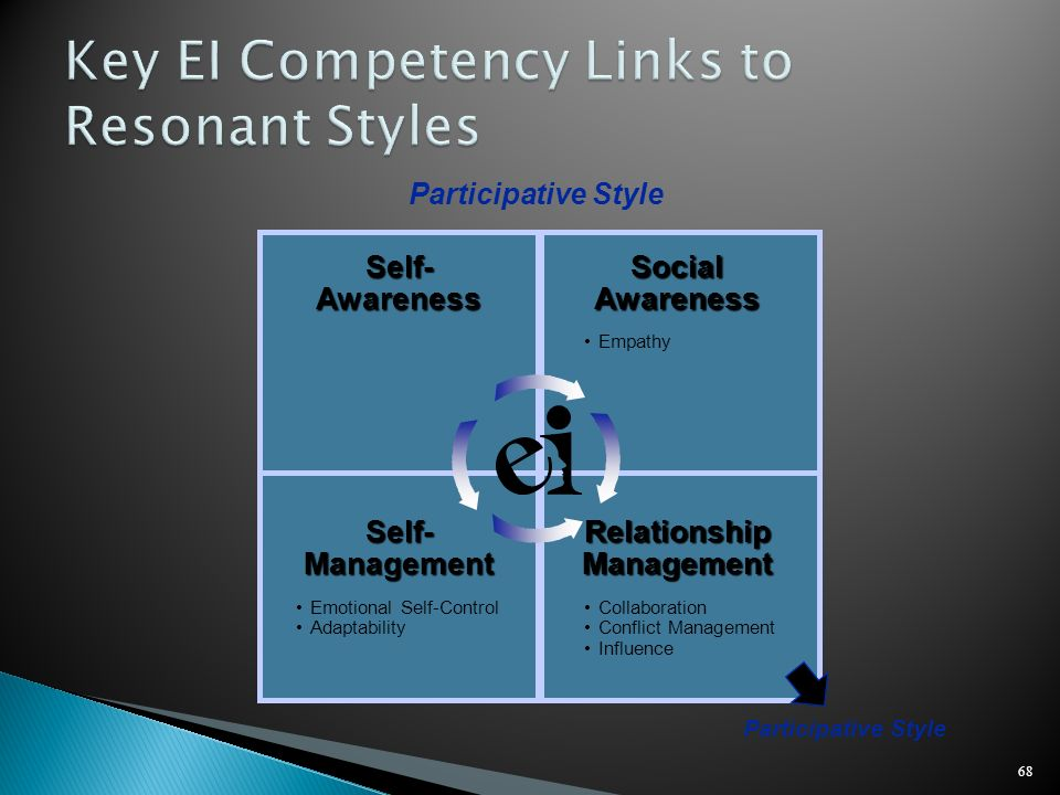 68 Self-AwarenessSocialAwareness Empathy Participative Style Relationship Management Self-Management Collaboration Conflict Management Influence Emoti