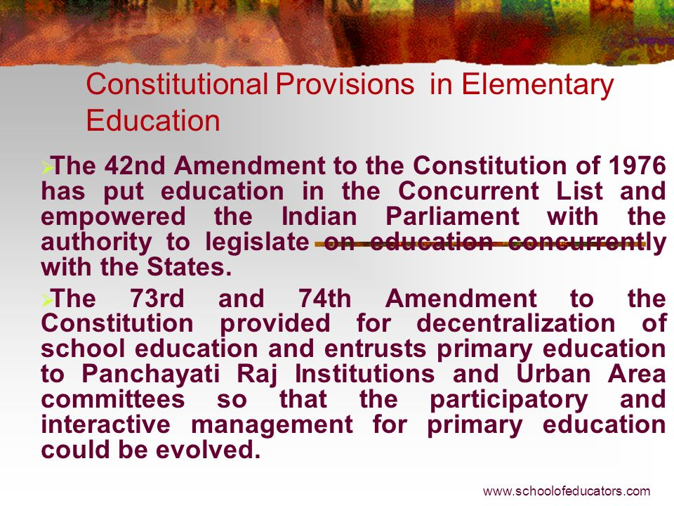 Constitutional Provisions in Elementary Education Article 30(2) - The State shall not, in granting aid to educational institutions, discriminate again
