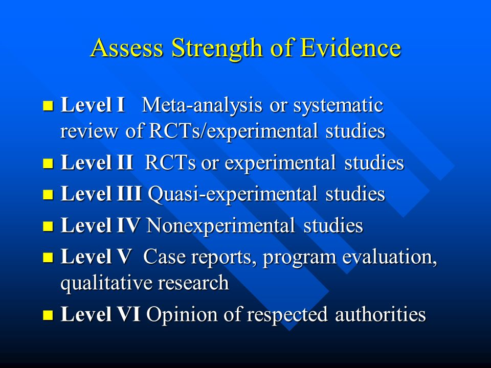 Assess Strength of Evidence Level I Meta-analysis or systematic review of RCTs/experimental studies Level I Meta-analysis or systematic review of RCTs