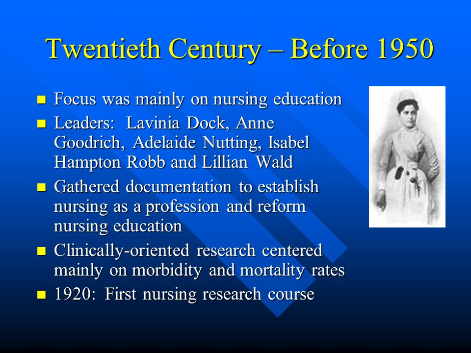 Twentieth Century – Before 1950 Focus was mainly on nursing education Focus was mainly on nursing education Leaders: Lavinia Dock, Anne Goodrich, Adel