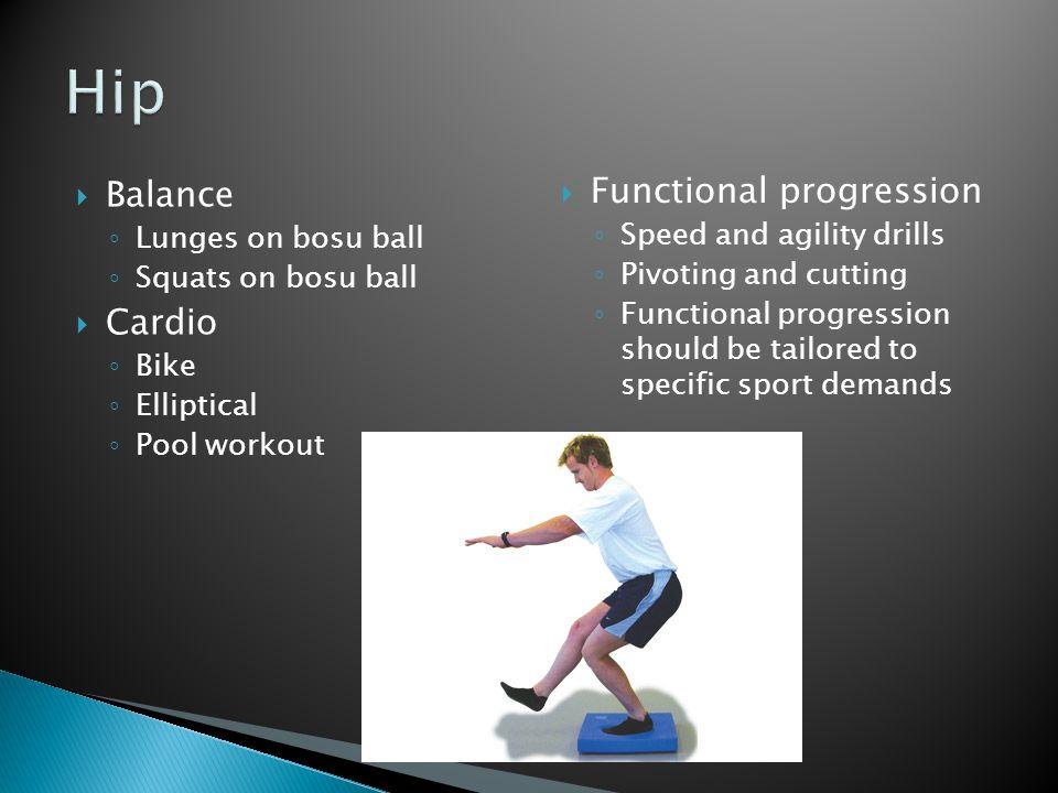 Balance Lunges on bosu ball Squats on bosu ball Cardio Bike Elliptical Pool workout Functional progression Speed and agility drills Pivoting and cutti