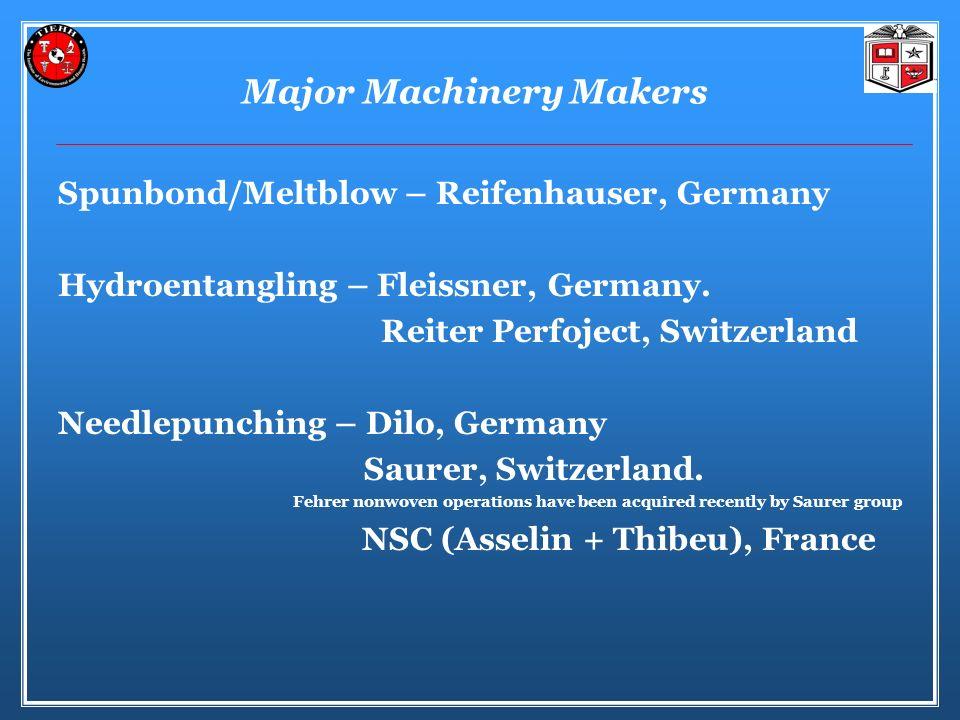 Major Machinery Makers Spunbond/Meltblow – Reifenhauser, Germany Hydroentangling – Fleissner, Germany.