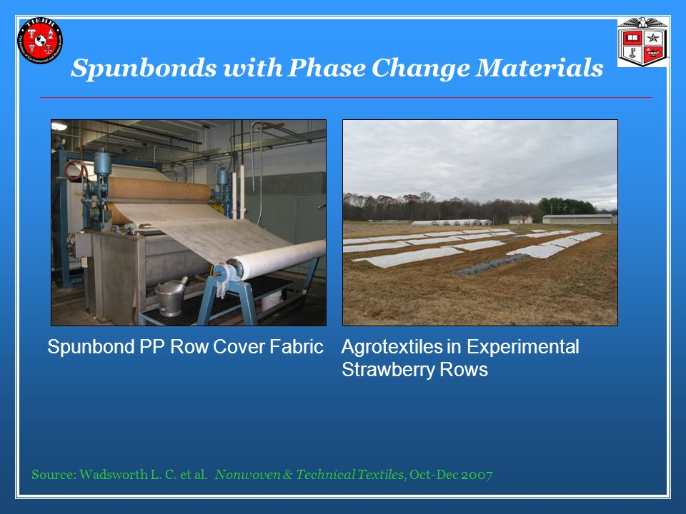 Spunbonds with Phase Change Materials Spunbond PP Row Cover Fabric Agrotextiles in Experimental Strawberry Rows Source: Wadsworth L.