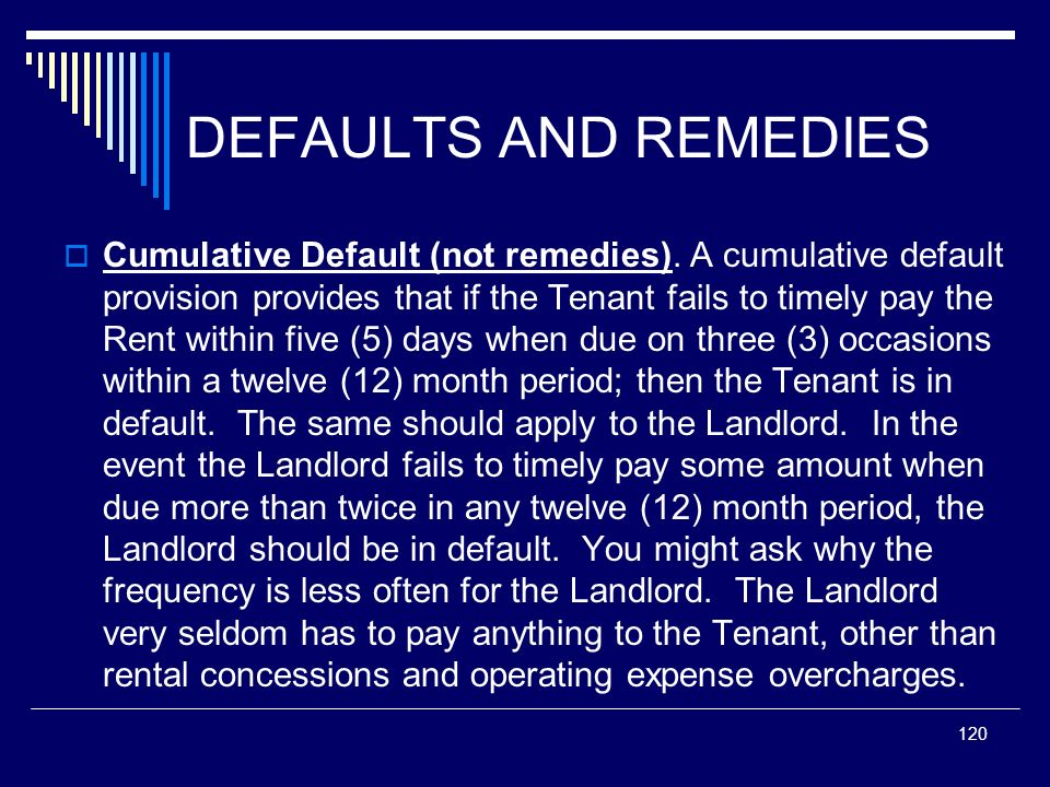 120 DEFAULTS AND REMEDIES Cumulative Default (not remedies). A cumulative default provision provides that if the Tenant fails to timely pay the Rent w