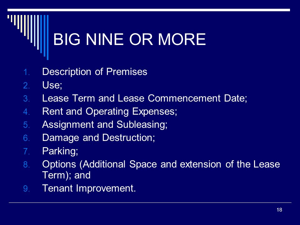 18 BIG NINE OR MORE 1. Description of Premises 2. Use; 3. Lease Term and Lease Commencement Date; 4. Rent and Operating Expenses; 5. Assignment and Su