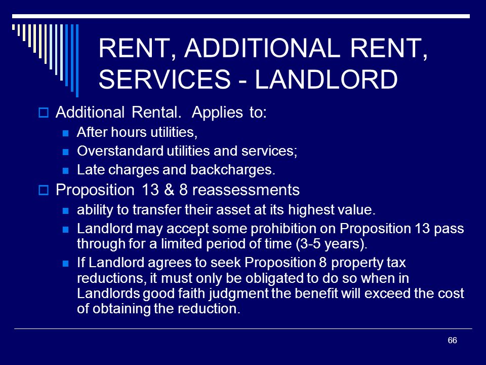 66 RENT, ADDITIONAL RENT, SERVICES - LANDLORD Additional Rental. Applies to: After hours utilities, Overstandard utilities and services; Late charges