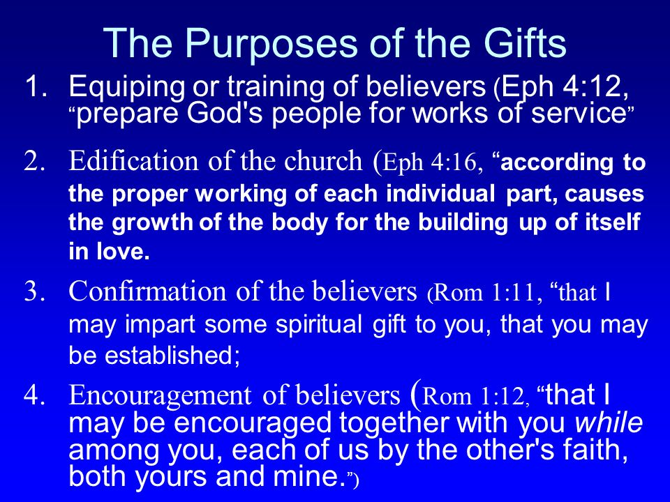 The Purposes of the Gifts 1.Equiping or training of believers ( Eph 4:12, prepare God's people for works of service 2.Edification of the church ( Eph