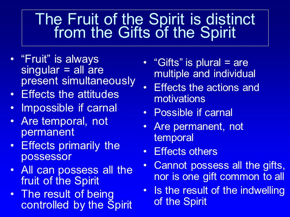 The Fruit of the Spirit is distinct from the Gifts of the Spirit Fruit is always singular = all are present simultaneously Effects the attitudes Impos