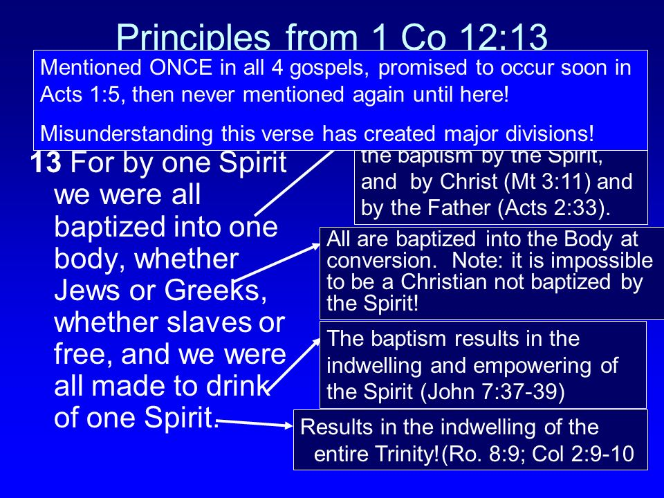 Principles from 1 Co 12:13 13 For by one Spirit we were all baptized into one body, whether Jews or Greeks, whether slaves or free, and we were all ma