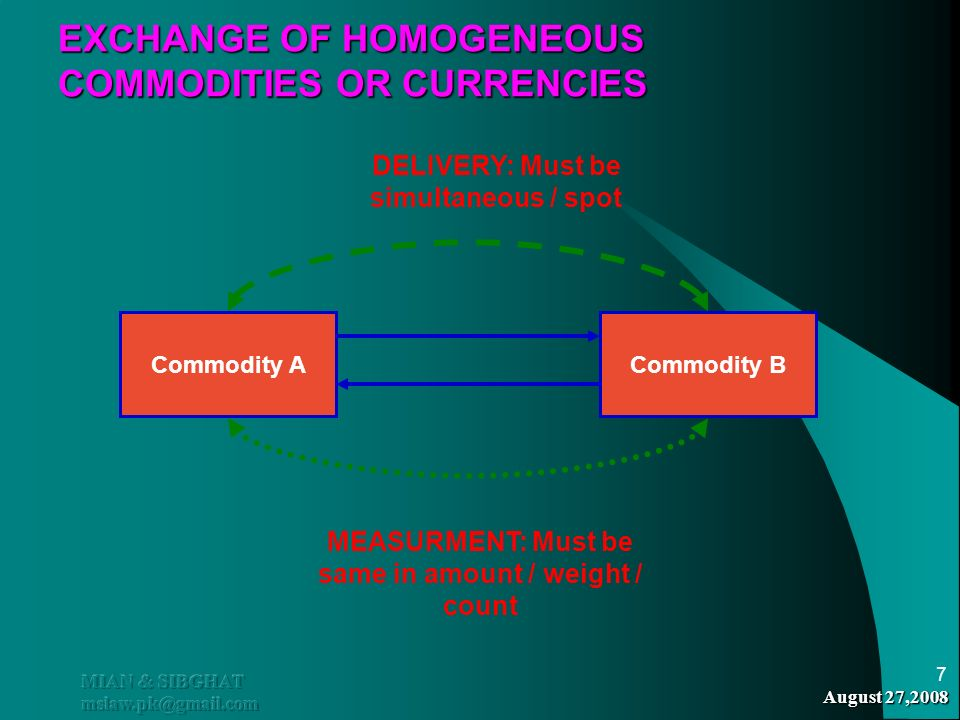 August 27,2008 MIAN & SIBGHAT mslaw.pk@gmail.com 7 EXCHANGE OF HOMOGENEOUS COMMODITIES OR CURRENCIES Commodity ACommodity B MEASURMENT: Must be same i