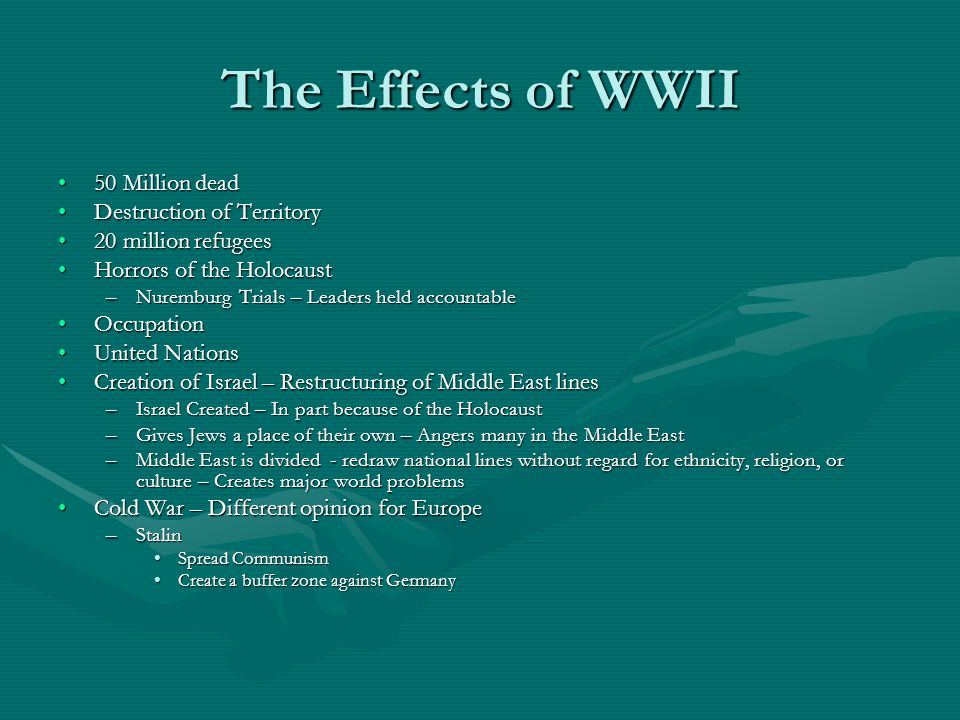 The Effects of WWII 50 Million dead50 Million dead Destruction of TerritoryDestruction of Territory 20 million refugees20 million refugees Horrors of the HolocaustHorrors of the Holocaust –Nuremburg Trials – Leaders held accountable OccupationOccupation United NationsUnited Nations Creation of Israel – Restructuring of Middle East linesCreation of Israel – Restructuring of Middle East lines –Israel Created – In part because of the Holocaust –Gives Jews a place of their own – Angers many in the Middle East –Middle East is divided - redraw national lines without regard for ethnicity, religion, or culture – Creates major world problems Cold War – Different opinion for EuropeCold War – Different opinion for Europe –Stalin Spread CommunismSpread Communism Create a buffer zone against GermanyCreate a buffer zone against Germany