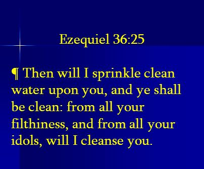 Ezequiel 36:25 ¶ Then will I sprinkle clean water upon you, and ye shall be clean: from all your filthiness, and from all your idols, will I cleanse y