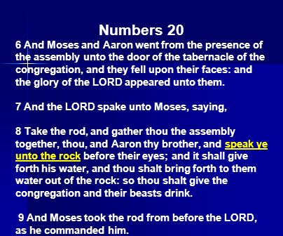 Numbers 20 6 And Moses and Aaron went from the presence of the assembly unto the door of the tabernacle of the congregation, and they fell upon their