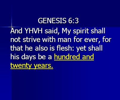 GENESIS 6:3 And YHVH said, My spirit shall not strive with man for ever, for that he also is flesh: yet shall his days be a And YHVH said, My spirit s