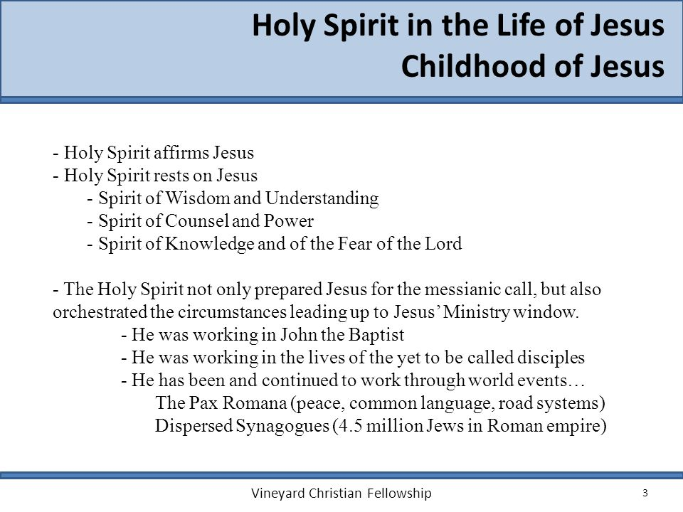 3 Holy Spirit in the Life of Jesus Childhood of Jesus Vineyard Christian Fellowship - Holy Spirit affirms Jesus - Holy Spirit rests on Jesus - Spirit of Wisdom and Understanding - Spirit of Counsel and Power - Spirit of Knowledge and of the Fear of the Lord - The Holy Spirit not only prepared Jesus for the messianic call, but also orchestrated the circumstances leading up to Jesus Ministry window.
