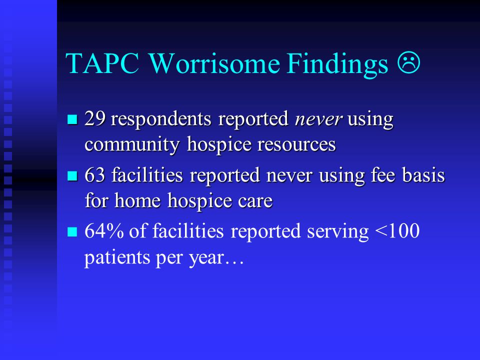 TAPC Worrisome Findings 29 respondents reported never using community hospice resources 29 respondents reported never using community hospice resource