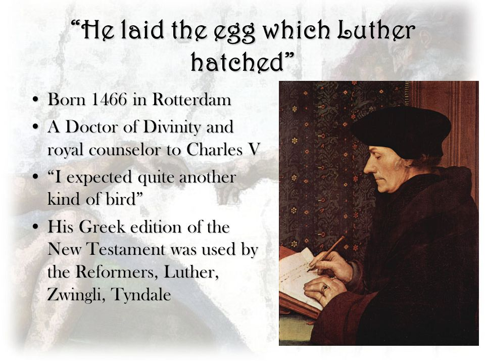 He laid the egg which Luther hatched Born 1466 in RotterdamBorn 1466 in Rotterdam A Doctor of Divinity and royal counselor to Charles VA Doctor of Div