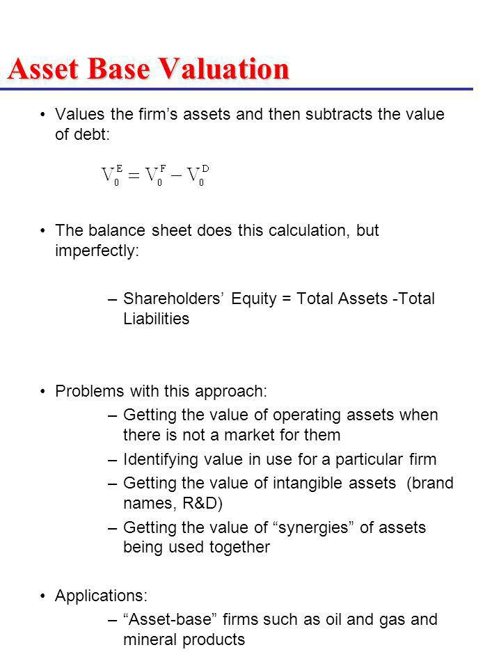 Asset Base Valuation Values the firms assets and then subtracts the value of debt: The balance sheet does this calculation, but imperfectly: –Sharehol