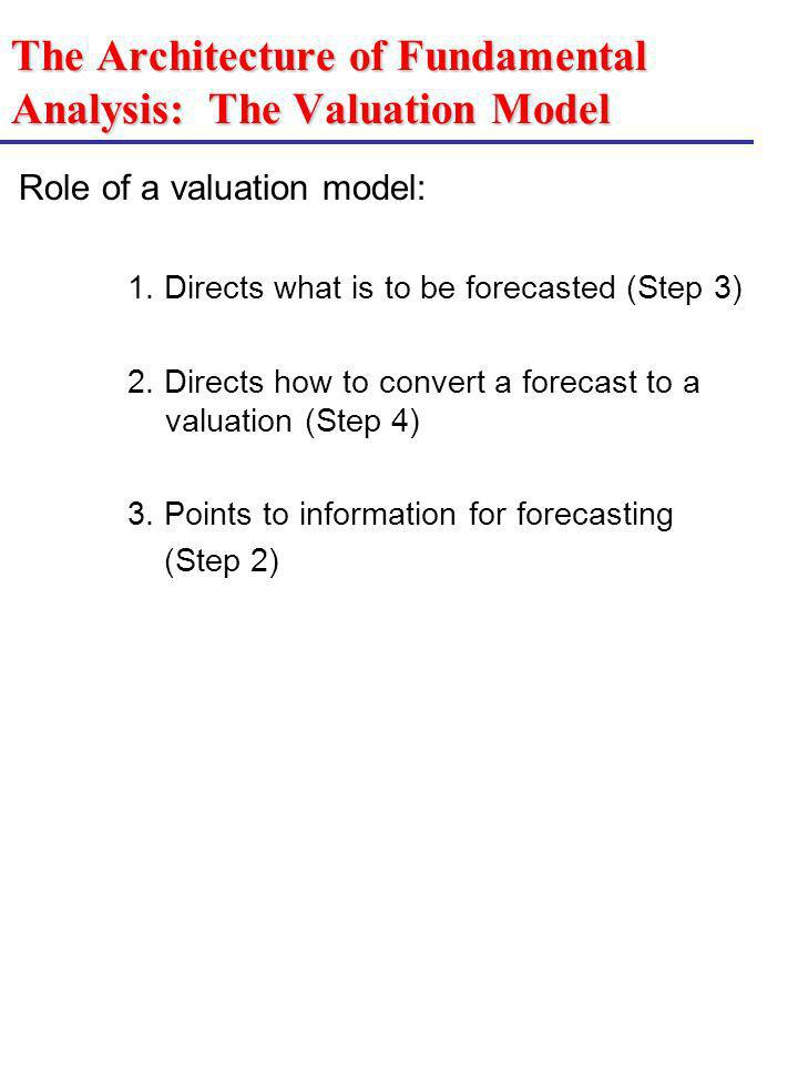 The Architecture of Fundamental Analysis: The Valuation Model Role of a valuation model: 1. Directs what is to be forecasted (Step 3) 2. Directs how t