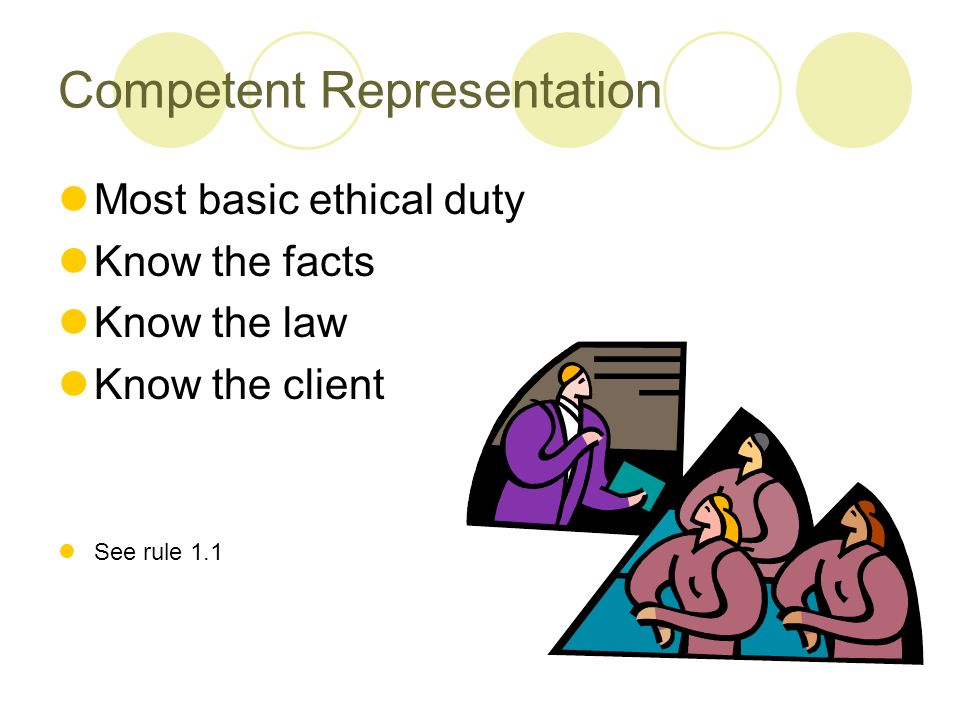 Competent Representation Most basic ethical duty Know the facts Know the law Know the client See rule 1.1