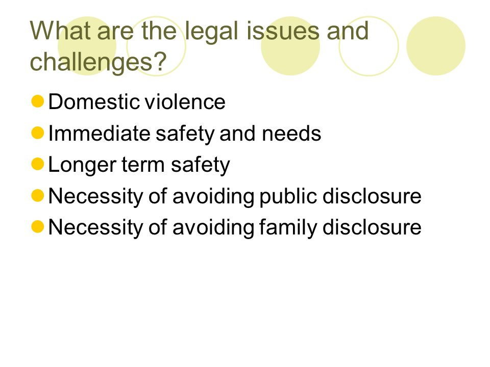 What are the legal issues and challenges.