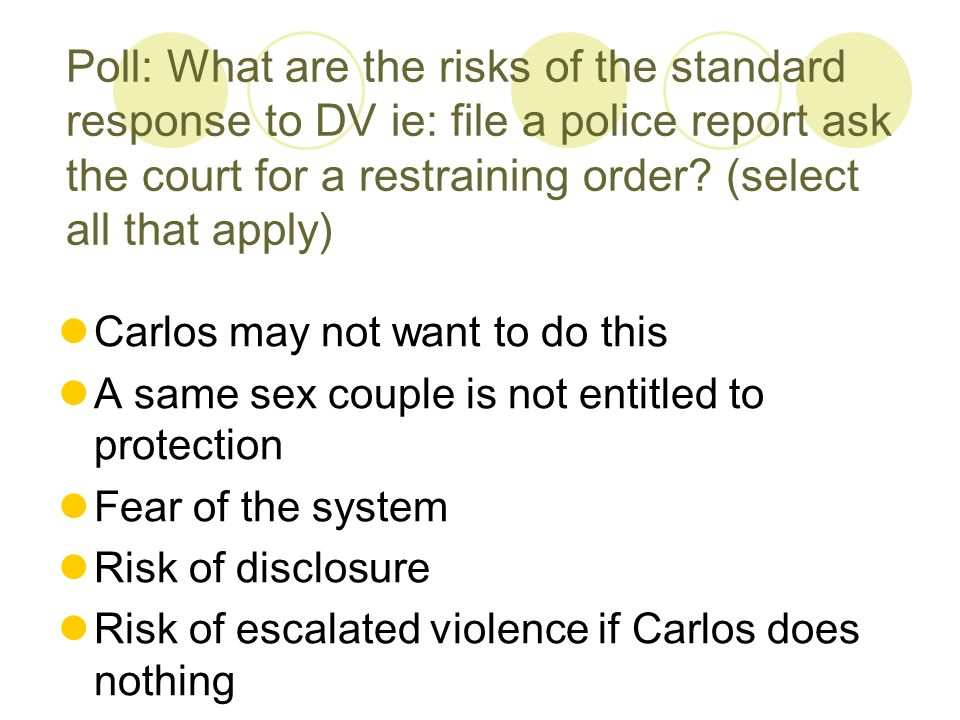 Poll: What are the risks of the standard response to DV ie: file a police report ask the court for a restraining order.