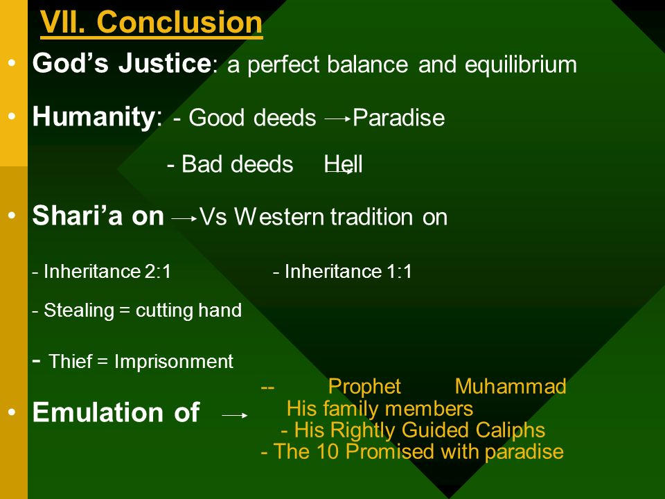 VII. Conclusion Gods Justice : a perfect balance and equilibrium Humanity: - Good deeds Paradise - Bad deeds Hell Sharia on Vs Western tradition on -