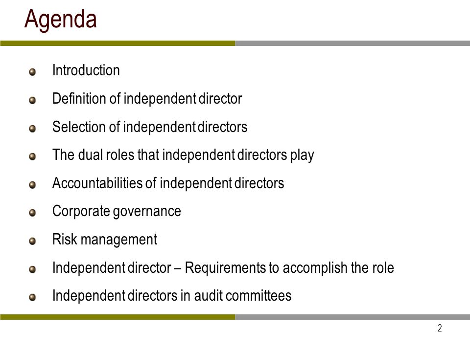 3 Introduction This presentation covers only independent directors of public listed companies whether it is family controlled or widely held through institutions and shareholders of a wide spectrum Major happenings on independent directors 340+ independent directors have quit in 2009 after the Satyam episode Role of independent directors questioned after global financial collapse