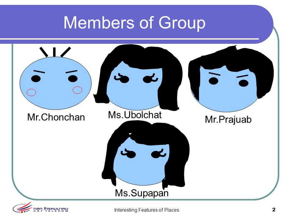 Interesting Features of Places2 Members of Group Mr.Chonchan Ms.Ubolchat Ms.Supapan Mr.Prajuab