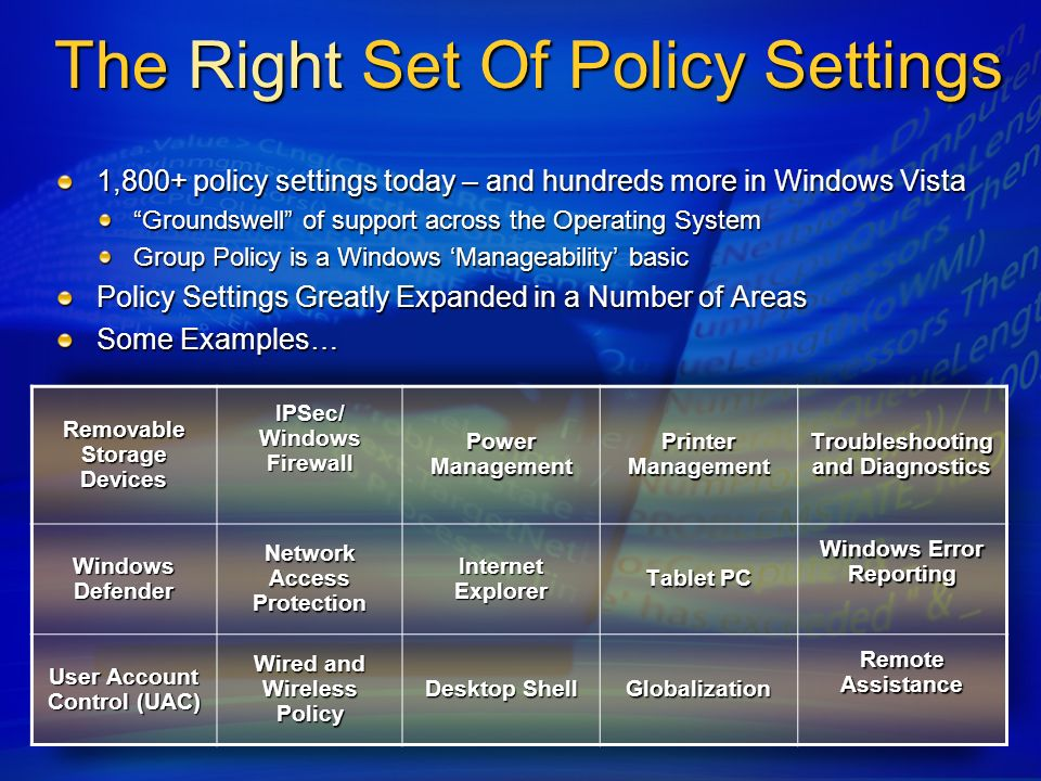The Right Set Of Policy Settings 1,800+ policy settings today – and hundreds more in Windows Vista Groundswell of support across the Operating System