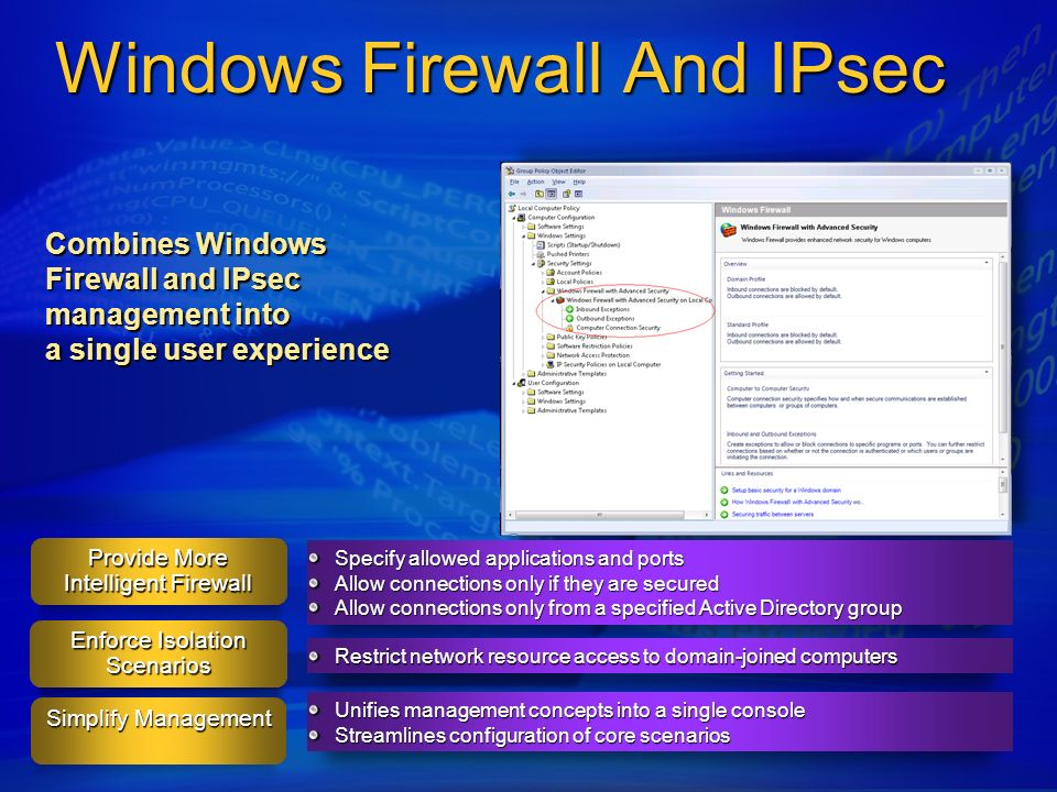 Windows Firewall And IPsec Unifies management concepts into a single console Streamlines configuration of core scenarios Restrict network resource acc