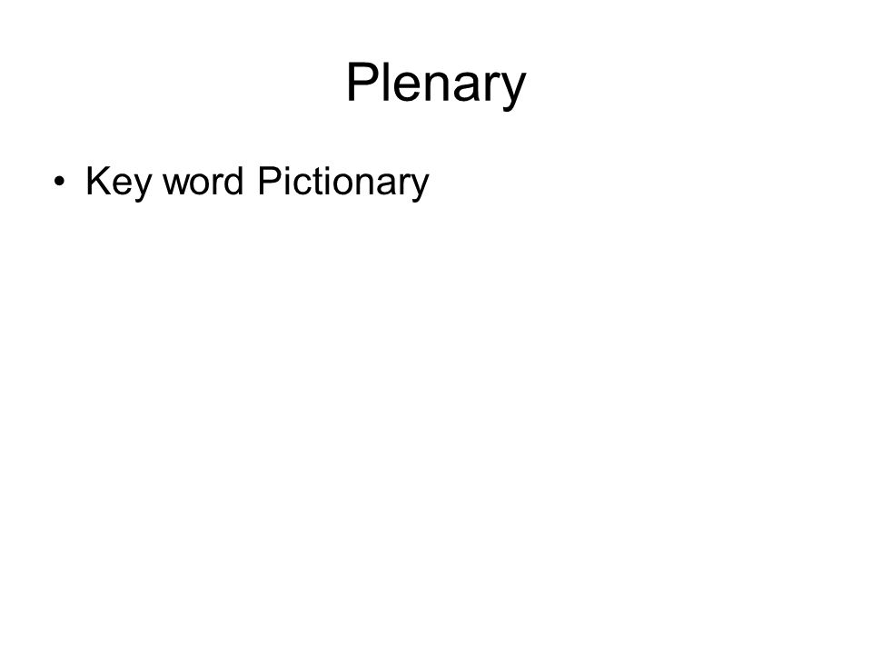 Plenary Key word Pictionary