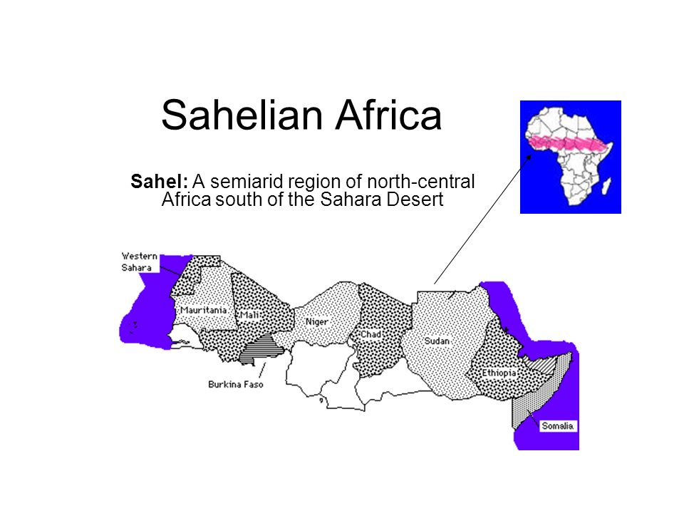 Sahelian Africa Sahel: A semiarid region of north-central Africa south of the Sahara Desert