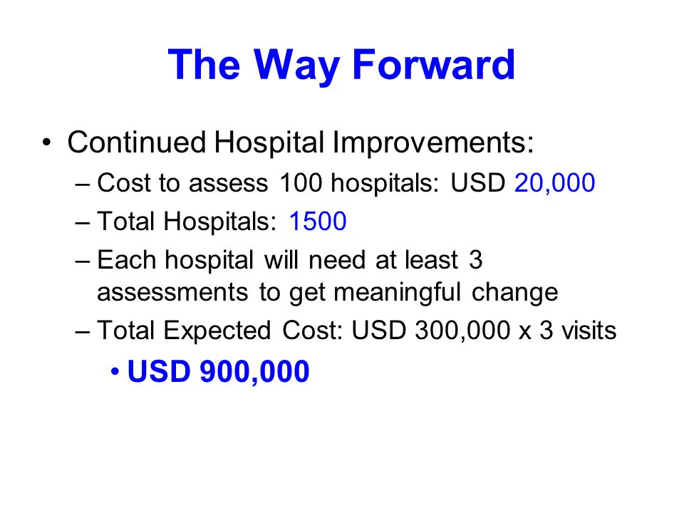 The Way Forward Continued Hospital Improvements: –Cost to assess 100 hospitals: USD 20,000 –Total Hospitals: 1500 –Each hospital will need at least 3 assessments to get meaningful change –Total Expected Cost: USD 300,000 x 3 visits USD 900,000
