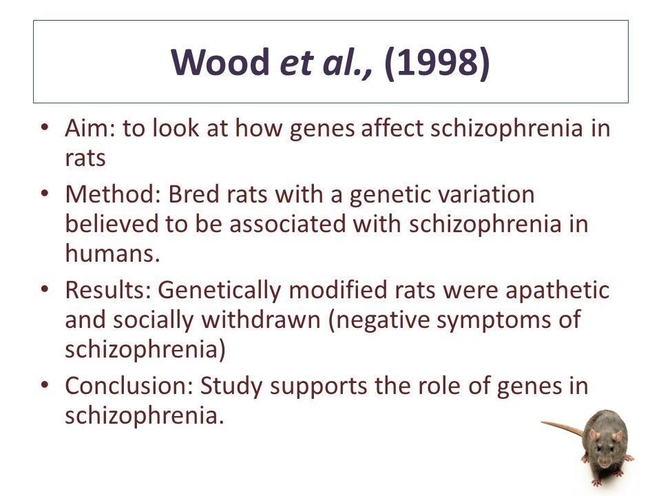 Aim: to look at how genes affect schizophrenia in rats Method: Bred rats with a genetic variation believed to be associated with schizophrenia in humans.