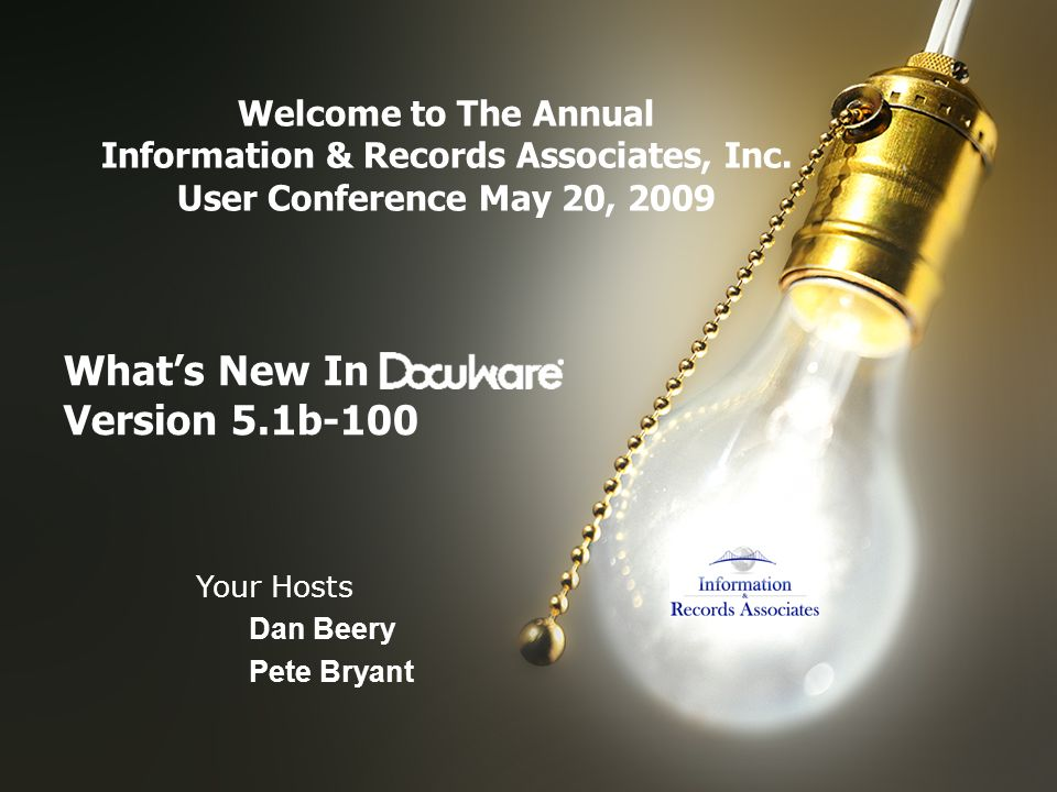 Whats New In Version 5.1b-100 Welcome to The Annual Information & Records Associates, Inc.