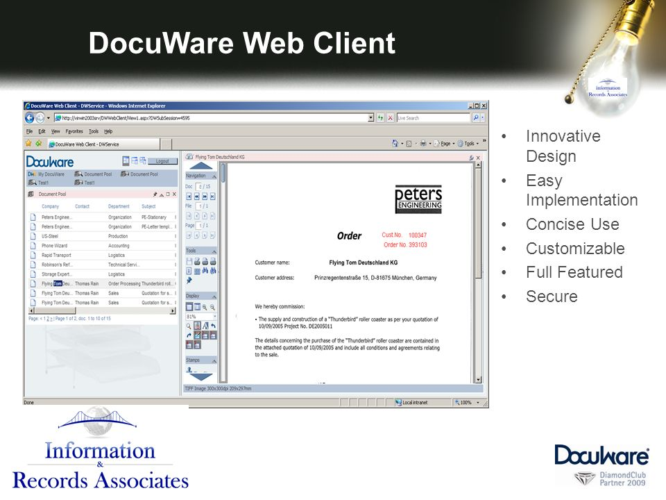 DocuWare Web Client Innovative Design Easy Implementation Concise Use Customizable Full Featured Secure