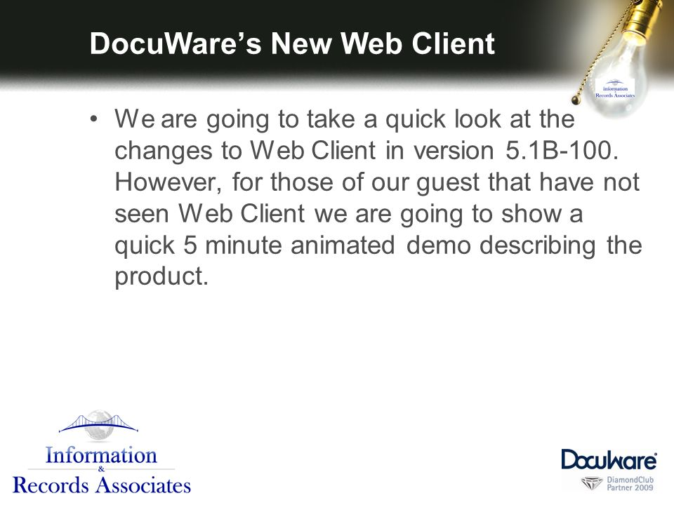 DocuWares New Web Client We are going to take a quick look at the changes to Web Client in version 5.1B-100.