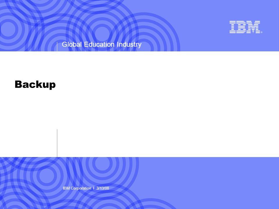 Global Education Industry Backup IBM Corporation I 3/13/08