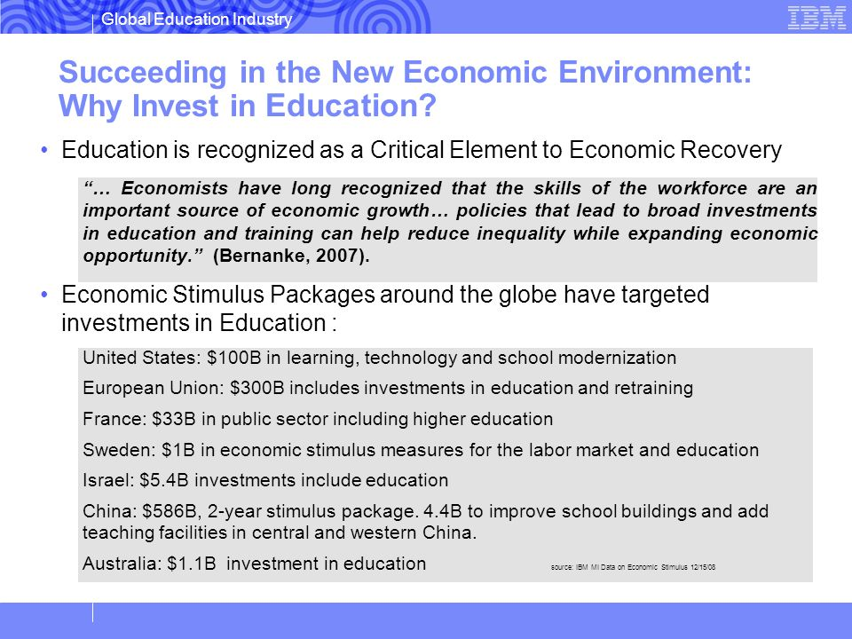 Global Education Industry Succeeding in the New Economic Environment: Why Invest in Education? Education is recognized as a Critical Element to Econom
